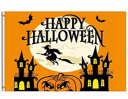 Wamika Happy Halloween Flag 3x5 FT Brass Grommets Funny Scary Halloween Night Spooky Flying Witch Bats Full Moon Pumpkins Haunted House Garden House Flags Banner Indoor Outdoor Party Home Decor for $<!--$16.99-->