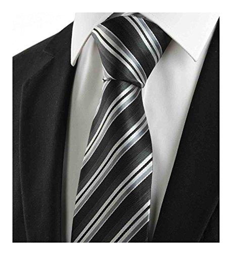 Black Silver Tie - L04BABY Classic Black Silver Striped Jacquard Woven 100% Silk Men Tie Necktie