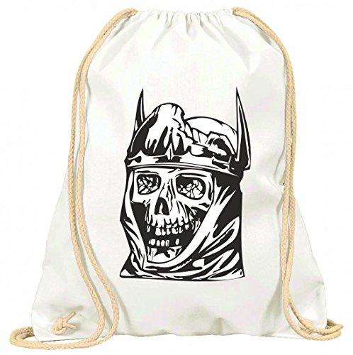 Turnbeutel Totenkopf königlich mit Krone Kult Totenschädel Gothic Biker Skull Emo Old School mit Kordel - 100% Baumwolle- Gymbag- Rucksack- Sportbeutel Weiß 7NWCa8r9P