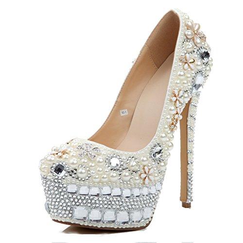 L@YC Women's Shoes High Heel Spring Round Head Rhinestone PU Glitter & Evening White White
