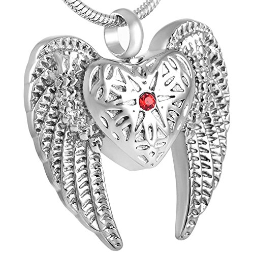 constantlife Angel Wing Heart Cremation Pendant Stainless Steel Urn Necklace for Ashes Keepsake Jewelry