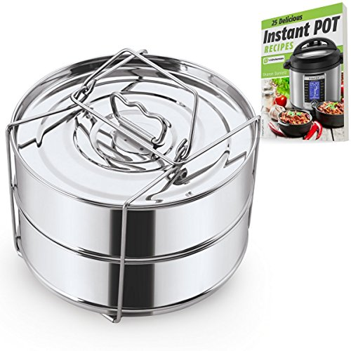 Stackable Steamer Insert Pans with Sling - Instant Pot Accessories for 6, 8 Qt - Stainless Steel Food Steamer for Pressure Cooker & Pot in Pot Accessories - Cook 2 foods at Once Accesory Set