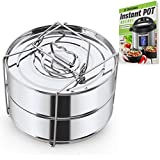 Stackable Steamer Insert Pans with Sling - Instant Pot Accessories for 6, 8 Qt - Stainless Steel Food Steamer for Pressure Cooker & Pot in Pot Accessories - Cook 2 foods at Once