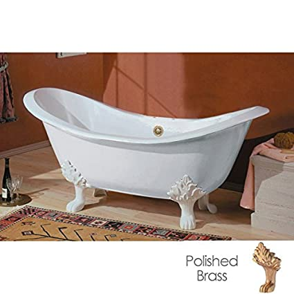 Cheviot Regency Cast Iron Claw Foot Bathtub White / White With Polished  Brass Feet