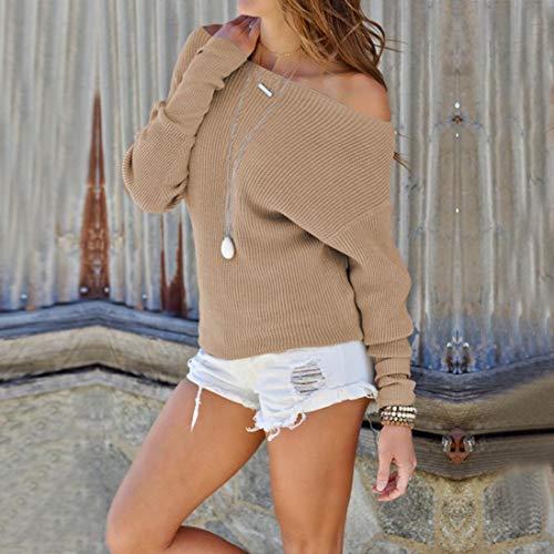 lgant Blouse 2018 Hiver Automne paule Manches Longues Nouvelle Mode Hors Kaki Tops T Tricot Printemps Jolie Solide Femmes Confortable Mode Shirt Chandail Femme t 8pBEqX