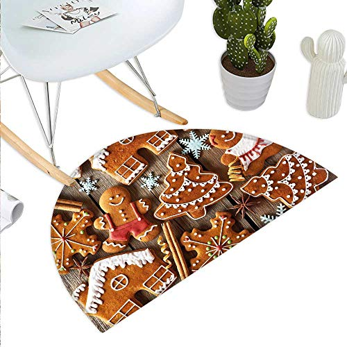 (Gingerbread Man Half Round Door mats Tasty Looking Traditional Cookies Little Snowflakes Cinnamon Bathroom Mat H 39.3