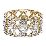 BriLove Women's Wedding Bridal Crystal Art Deco Square Framed Tennis Stretch Bracelet Clear Gold-Toned