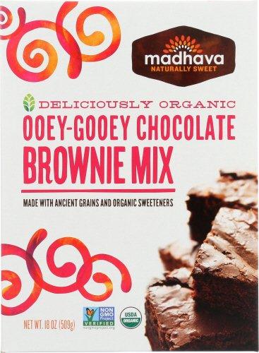 Ooey Gooey Brownies - Madhava Naturally Sweet Organic Ancient Grains Baking Mix, Ooey-Gooey Chocolate Brownie, 18 Ounce (Pack of 6)