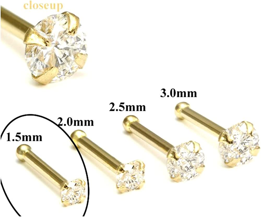 Surgical Steel Gold Shimmer Heart Nose Bone Ball End Straight Pin Stud 20 gauge