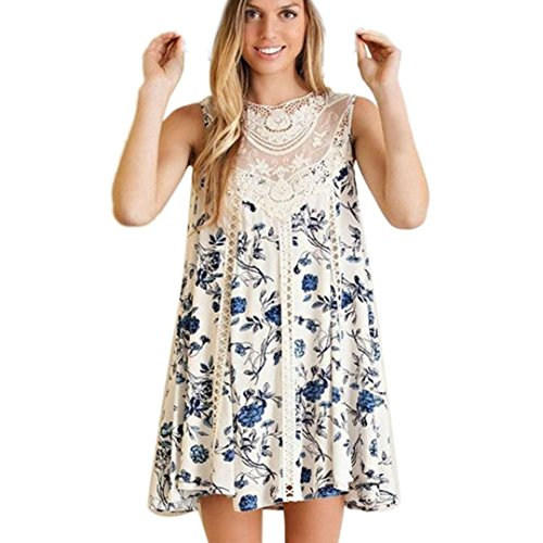 Sleeveless Blue Sannysis Floral Beach Dress Women's Printed Splice Lace f8q5pn4qwO