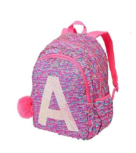 Justice Girls Backpack Flip Sequin Initial Tote Backpack Bag Pink Silver (k) -