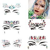 MANGOIT 5 Sets Face Jewels Rhinestone Face Stickers Gems Glitter Face Crystal Stickers Temporary Tattoo Mermaid Face Body Jewelry for Music Festivals,Party,Show