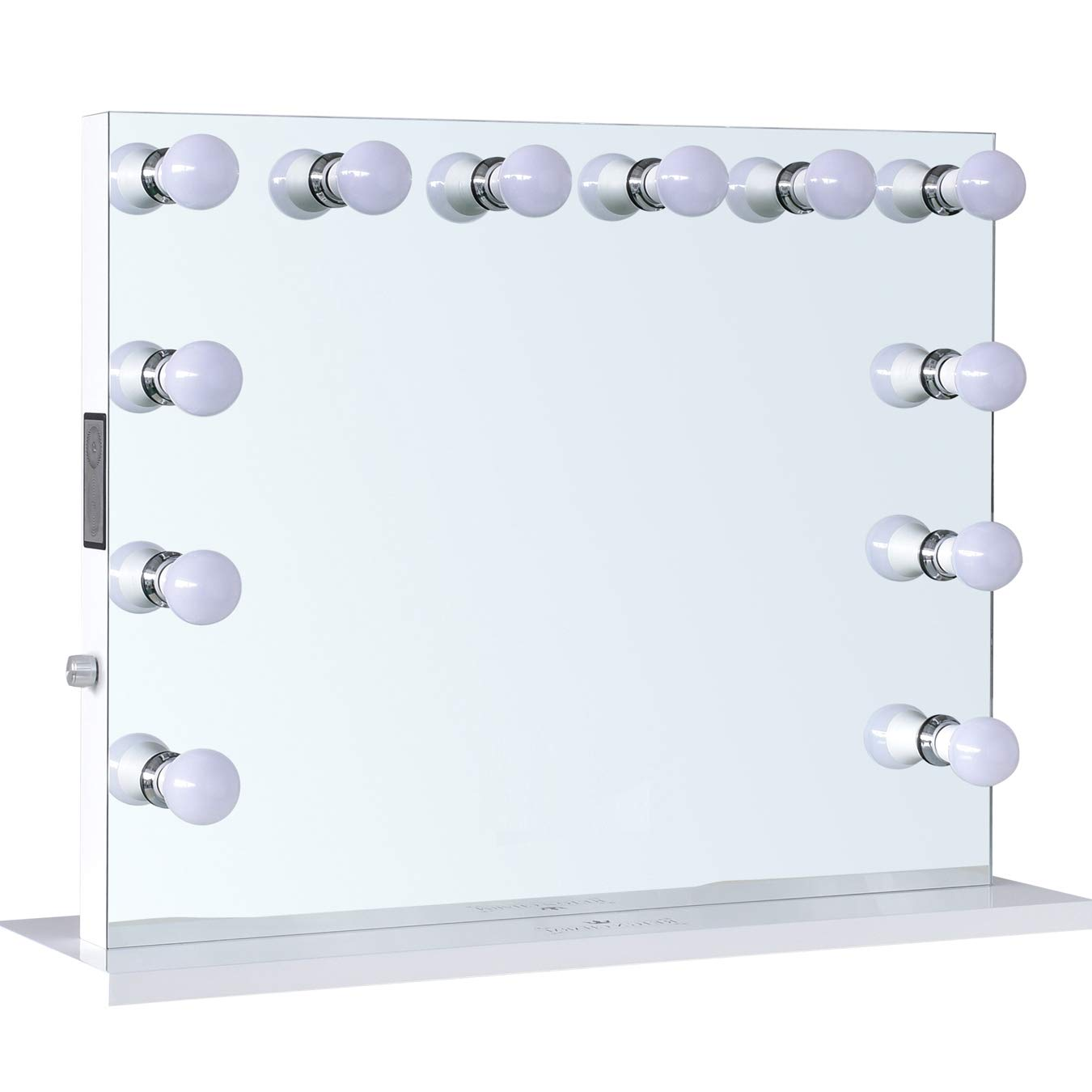 ReignCharm Hollywood Vanity Mirror Music Box 12 LED Lights Dual Outlets /& USB Bluetooth Speaker 32-inches x 27-inches