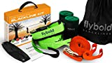 flybold Slackline Kit with Training Line Tree Protectors Ratchet Protectors Arm Trainer 57 feet Easy Set up Instruction Booklet and Carry Bag Complete Set Outdoor fun for Family Adults Children Kids