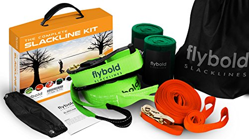 Image of the flybold Slackline Kit with Training Line Tree Protectors Ratchet Protectors Arm Trainer 57 feet Easy Set up Instruction Booklet and Carry Bag Complete Set Outdoor fun for Family Adults Children Kids