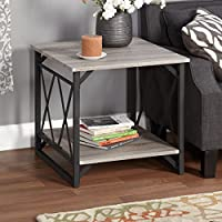 Square End Table with 1 Bottom Shelf and Double X Accent Design - Made with MDF in Reclaimed Grey Finish and Powder Coated Black Steel Frames