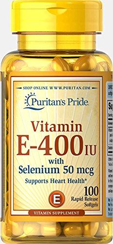 Puritans Pride Vitamin E-400 Iu With Selenium 50 Mcg Softgels, 100 Count