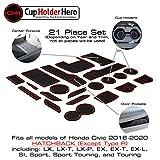 CupHolderHero for Honda Civic Accessories 2016-2020 Premium Custom Interior Non-Slip Anti Dust Cup Holder Inserts, Center Console Liner Mats, Door Pocket Liners 21-pc Set