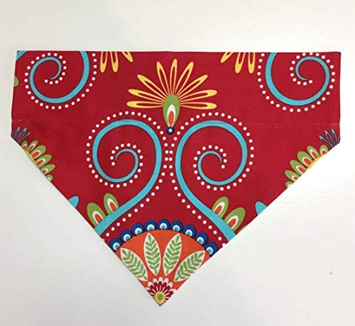 Dog Bandana Red Design Large no tie slip over collar