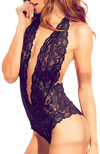 MIYU Womens Halter Sexy Lingerie Lace Teddy Bodysuit Deep V Open Back...