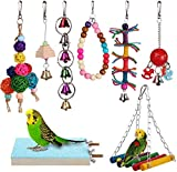 8pcs Bird Parrot Toys Hanging Bell Pet Bird Cage Hammock Swing Toy Hanging Toy for Small Parakeets Cockatiels, Conures, Macaws, Parrots, Love Birds, Finches