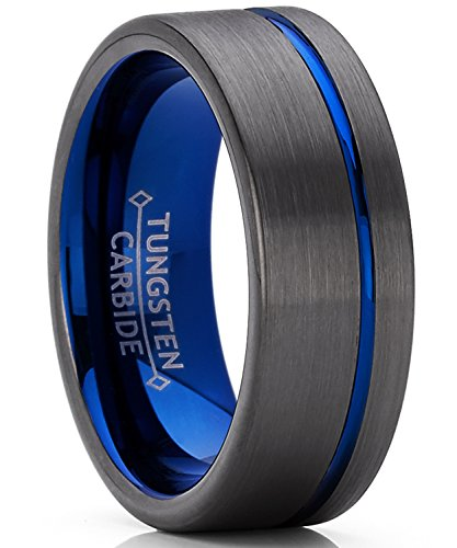 - Men's Grooved Tungsten Carbide Wedding Band Engagment Ring Gun Metal and Blue Color, Comfort Fit 8mm 10.5