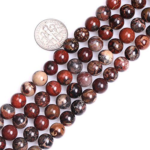 GEM-inside Natural Round Dark Red 8mm AA Grade Natural Poppy Jasper Gemstone Semi Precious Beads for Jewelry Making 15