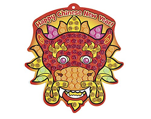 12 Chinese New Year Glitter Mosaic Oriental Dragon Craft Kits for Kids