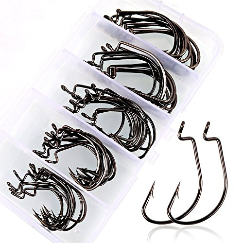 s High Carbon Steel Worm Senko Bait Jig Fish Hooks with Plastic Box (Fish Hook Bait)