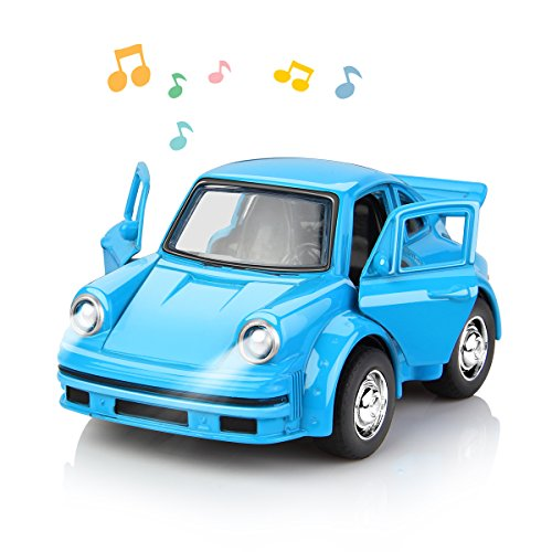 Die Cast Metal Toy Cars with Openable Doors 1:38 Scale Music Pull Back Car Gift Pack for Kids Blue