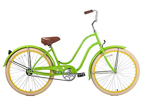 Steel Frame, Micargi Sakura 1-speed (Green/yellow) Women's 26 Beach Cruiser Bike by Micargi B00B47CBPA