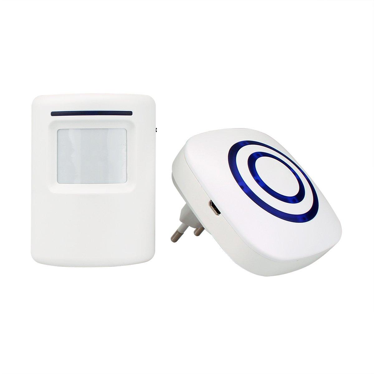 T801 Durchgangsmelder Durchgangsalarm Bewegungsmelder PIR Sensor Chime Wireless Tü rklingel fü r Home Shop (weiß ) Retekess EUF9506B