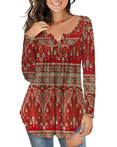 a.Jesdani Blouses for Women Floral Henley Shirts Casual Tunic Tops Multi Red L