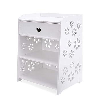 Xzr Table De Chevet Blanc Sculptée Table De Nuit Meuble Armoire De Rangement 2 étagère Tiroir Plastique Chambre Fleur Simple Moderne