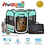 PicassoTiles PET4FUN PN935/PN945 Portable Pet Puppy Dog Cat Playpen Crates Kennel w/Water Resistant 600D Oxford, 210D Nylon, Carrying Bag, Collapsible Bowl, Removable Mesh Cover 2 Sizes