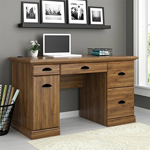 Elegant Wooden Desk in Classic Vintage Design with Multiple Storage Drawers and Trays, Large Workstation, Sophisticated Antique Look is Perfect Addition in Home and Office (Abby Oak) by Better Homes & Gardens