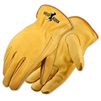Galeton 25001PR-L 25001PR Rough Rider Premium Leather Driver Gloves, Elastic Back, Large, Gold