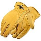 Galeton 25001PR-M 25001PR Rough Rider Premium Leather Driver Gloves, Elastic Back, Medium, Gold