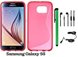 Samsung Galaxy S6 (2015 Samsung New Flagship Android Phone; US Carrier: Verizon Wireless, AT&T, Sprint, and T-Mobile) Phone Case - Premium Pretty S Shape TPU Flexible Design Rubber Skin Cover Case + Car Charger + 3.5MM Stereo Earphones + 1 of New Metal St
