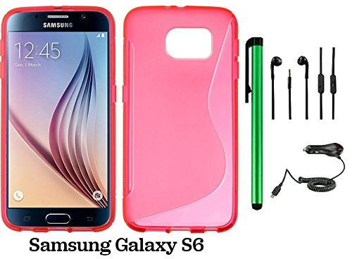 Samsung Galaxy S6 (2015 Samsung New Flagship Android Phone; US Carrier: Verizon Wireless, AT&T, Sprint, and T-Mobile) Phone Case - Premium Pretty S Shape TPU Flexible Design Rubber Skin Cover Case + Car Charger + 3.5MM Stereo Earphones + 1 of New Metal St by WAM Samsung Galaxy S8