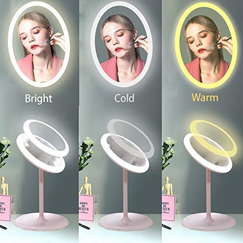 Lighted Makeup Mirror, MEIQ Professional Cosmetic Mirror with Stand, 7.24Inch LED Vanity Mirror, Touch Sensor Switch and 3 Colors Dimmable Light, 90°Rotation, with Mini Magnifying Mirror