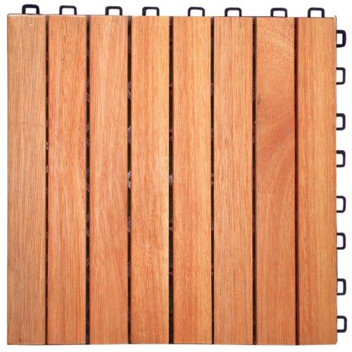Eucalyptus 12 Slat (V375 Eucalyptus Hardwood - 8 Straight Slat Design - Interlocking Wood Deck Tile by Vifah)