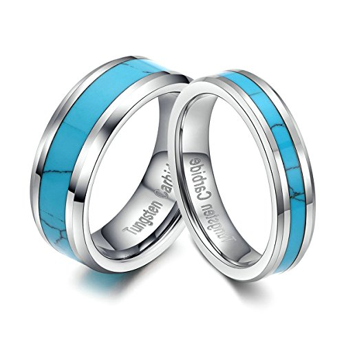 Tungsten Carbide Ring Blue Turquoise Inlay Men's Women's Job Promise Wedding Band size 7