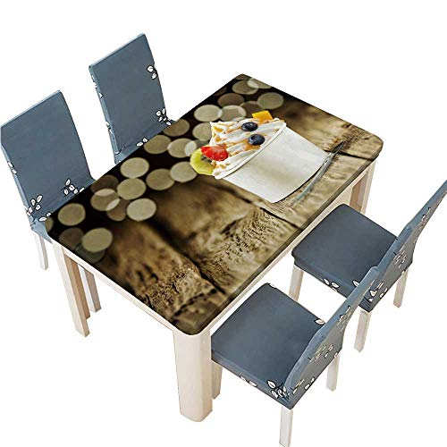 (PINAFORE Polyester Table Cloth Creamy Vanilla Frozen Yogurt Topped with Fresh Tropical Fruit Served in Table W61 x L100 INCH (Elastic Edge))