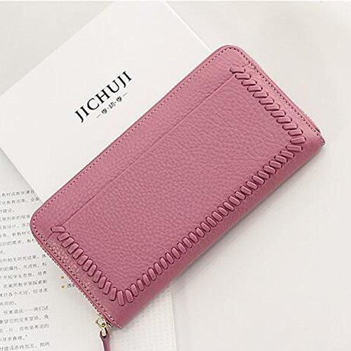 Billetera larga de mujer Bolso de cuero genuino Portatarjetas Bolsos de embrague Pantalón Regalo con cierre de cremallera Zorazone (Gris) Sakura rosa
