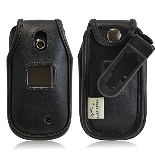 Turtleback Fitted Case for LG Revere 3 VN170 Flip Phone Executive Black Leather Case with Ratcheting Belt Clip - Made in USA