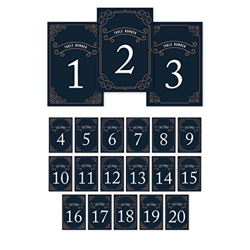 Andaz Press Navy Blue Art Deco Vintage Party Wedding Collection, Table Numbers 1 - 20 on Perforated Paper, Single-Sided, 4 x 6-inch, 1 Set