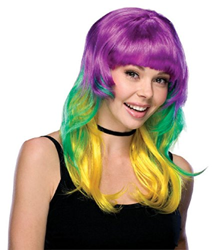 Mardi Gras Wig Purple Green Gold Long Women's Halloween Costume Accessory Adult
