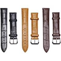Tupalizy 3 Colors Quick Release Leather Watch Band Strap Top Calf Grain Vintage Watch Belt Wristband Replacement for Men and Women, 3PCS (20mm)