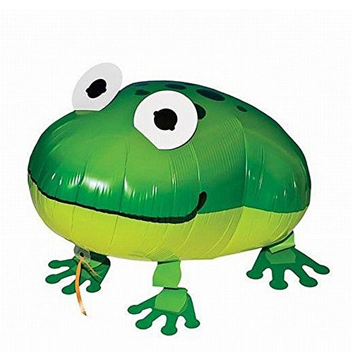 Walking Pet Balloon Animal Air Walker Helium Foil Balloon For Children Kids Fun Party (Cute Green Frog) ()